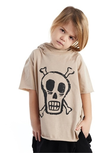 Colorinas Mask Hoody Baskılı Tshirt Taş